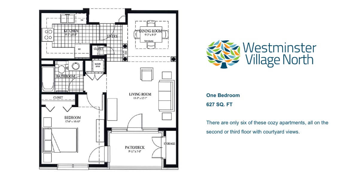 Floor plan for one bedroom Luxury Apartment