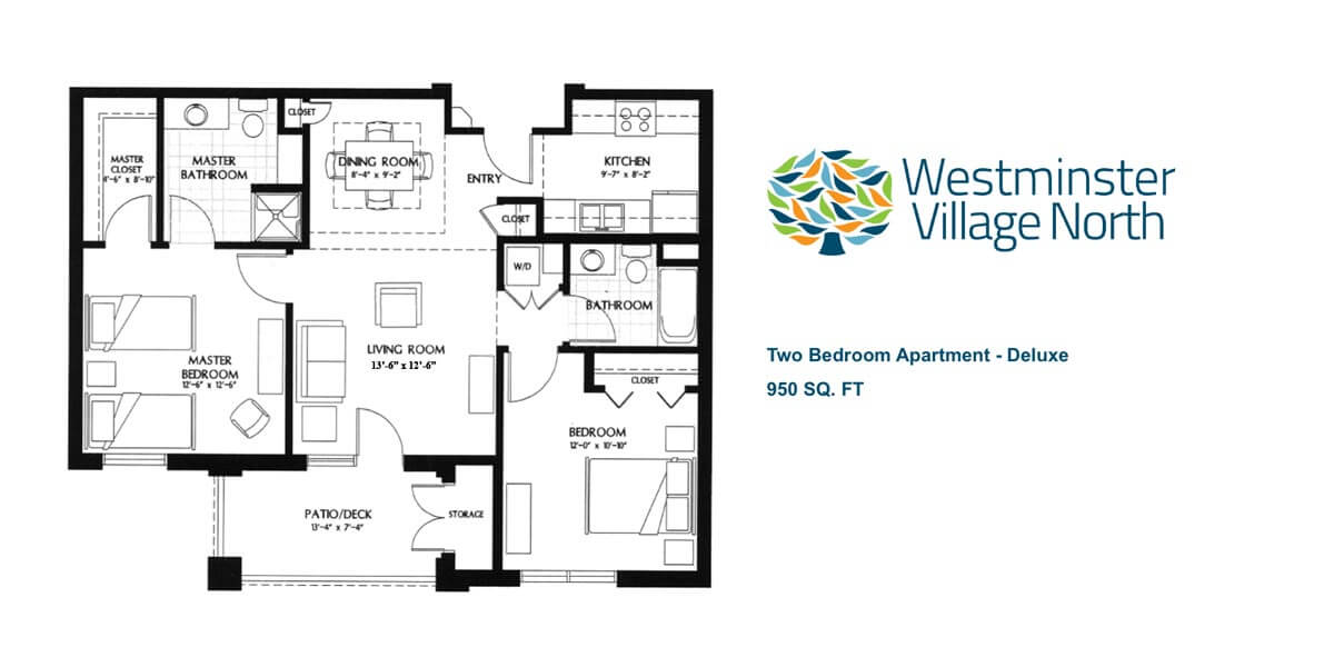 Floor plan for two bedroom Luxury Apartment