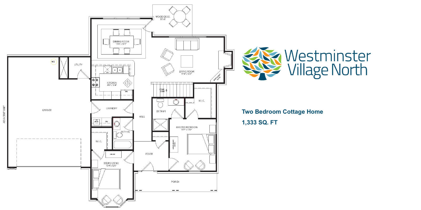 Two Bedroom Cottage Home floor plan