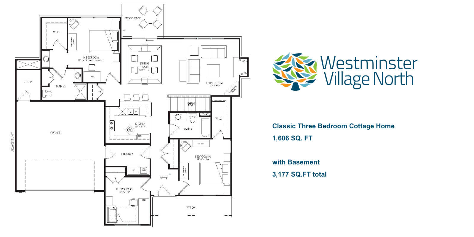 Three Bedroom Cottage Home floor plan