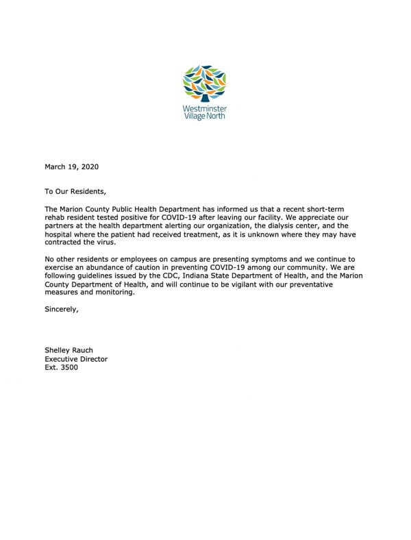 COVID-19 Letter to Residents - March 19, 2020